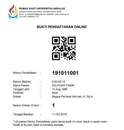 Bukti Pendaftaran Online